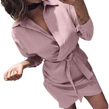 Autumn Casual Knotted Blouse Dress Women's Fashion Long Sleeve 2019 Elegant Clothes Shirt