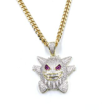 Hiphop Iced Out Pokemon Brass Pendant W/ 5mm 18-30 inches Cuban Chain