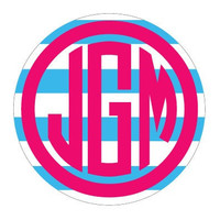 "Stripe Monogram Decal 5"" Sticker"