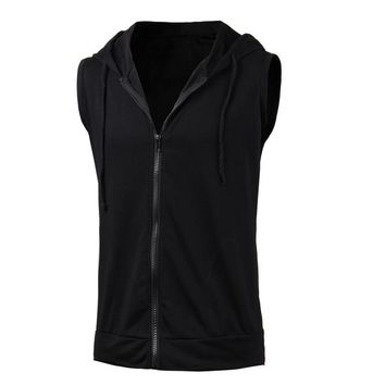 Men's Sleeveless Zip Up Hoodie