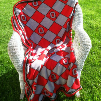 Fleece Blanket Made With OSU Licensed Fleece With Argyle Design and Crocheted Edge