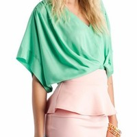 draped top $29.90 in MINT OFFWHITE PEACH - Short Sleeve | GoJane.com