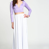 WHITE FLARED SCUBA MAXI SKIRT