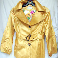 Gorgeous Vintage Hilary Radley Yellow Satin Trench Coat