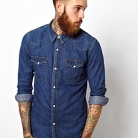 Lee Denim Western Shirt Slim Fit Mid Stone -