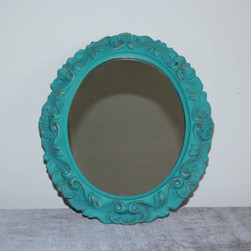 Ornate turquoise and gold oval mirror - Turquoise decor, teal decor, teal mirror, painted mirror, decorative mirror, upcycled mirror