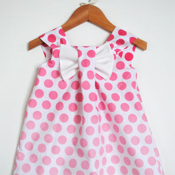 Big Bow Dress, Ombre Polka Dots in Pink, Modern, Girl Clothing, Easter, Spring, Special Occasion Outfit, Birthday Party, Size 1T - 5