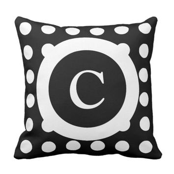 Personalized black and white polka dots throw pillow