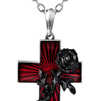 Alchemy Gothic Order Of The Black Rose Red Cross Pendant Necklace