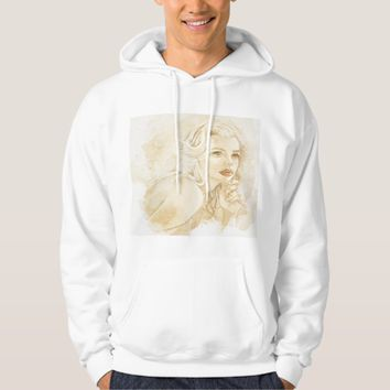 Stylish Vintage Drawing on White Hoodie