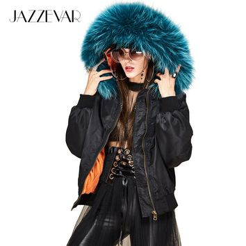 JAZZEVAR new winter high fashion street woman hooded bomber jacket large raccoon fur collar short basic jacket quilted outwear