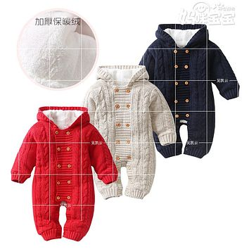 2017 Autumn spring Baby Rompers Christmas Newborn Baby Clothes  Infant Jumpsuits Outerwear Kid Boy Clothes