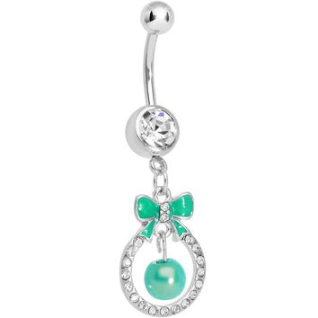 Clear Gem Green Bow Wreathed Faux Pearl Dangle Belly Ring
