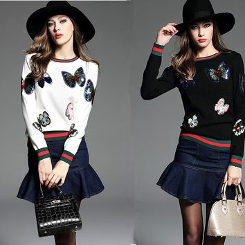 New Dazzling Sequined Butterfly Crewneck Knitting Sweater