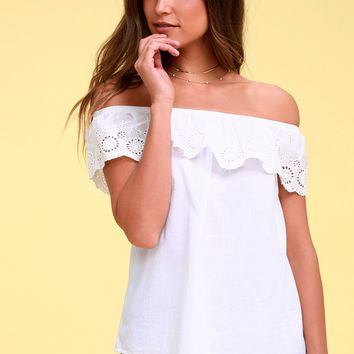 Dollie White Lace Off-the-Shoulder Top