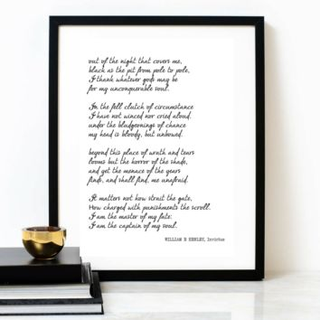 'I Am The Captain Of My Soul' Invictus Poetry Poster, WILLIAM E HENLEY (Full) Poem
