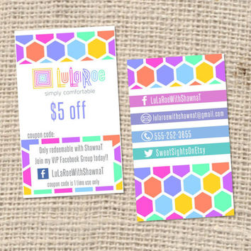 set of 100 LuLaRoe Business Cards HO approved colors and fonts LuLaCash LuLaMoolah Gift Certificates Business Cards Custom Design