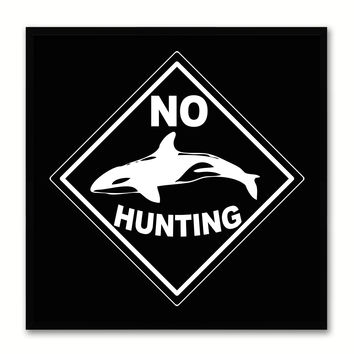 No Hunting Sign Art Black Print on Canvas Picture Frames Wall Home Décor Mancave