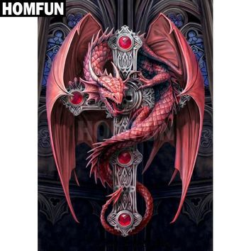 """HOMFUN Full Square/Round Drill 5D DIY Diamond Painting """"red dragon"""" 3D Embroidery Cross Stitch Mosaic Home Decor A00200"""