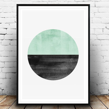 Abstract cirlce print, Mint color art, Watercolor texture, Geometric poster, Scandinavian print, House warming art, abstract poster