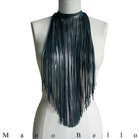 Long Leather Fringe Bib Necklace or Scarf, Gunmetal Gray