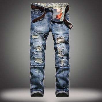 Ripped Holes Slim Hot Sale Pants Jeans [10366809923]