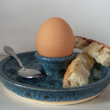 Egg Cup Soft Boiled Egg Server - Peacock Blue