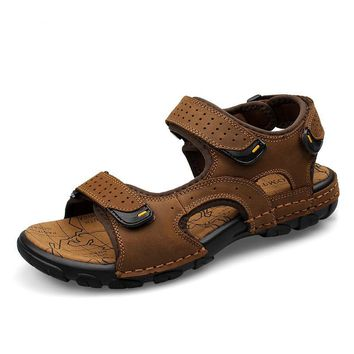 Plus Size 25-65 Fashion Breathable Genuine Cow Leather Men Sandals Handmade Adjustable Hook & Loop Young Man Sandal Shoes