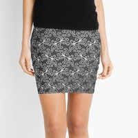 'Virynne (Silver Grey) #pattern' Mini Skirt by Kerry-Symetria