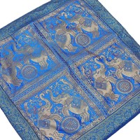 Blue Elephant Floor Pillow Decorative Lounge Boutique Stylish Euro Cushion | NovaHaat.com