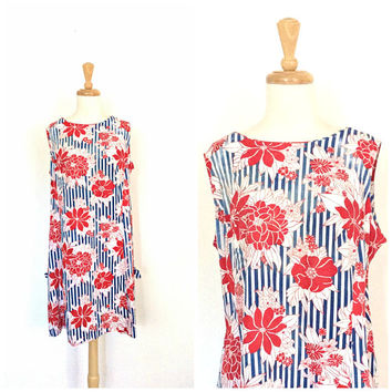 Vintage Shift Dress - floral dress - red white blue - mod - aline - babydoll dress - XL Plus