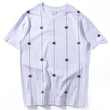 Champion Trending Stylish Women Men Logo Print Short Sleeve Round Collar T-Shirt Pullover Top White I12095-1