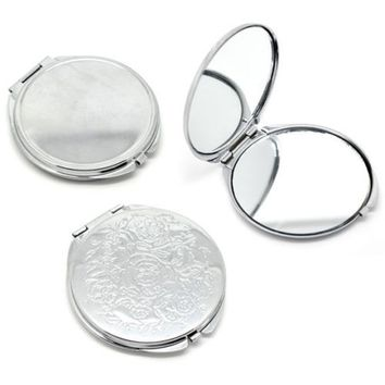 Portable Pocket Mirror Compact Double Side Makeup Cosmetic Round