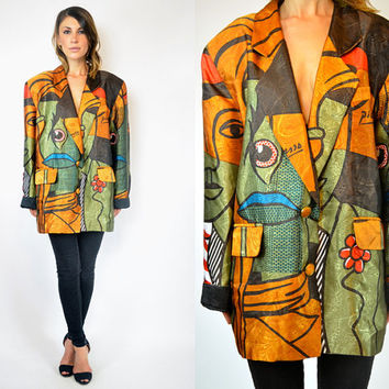 slouchy PABLO PICASSO chic art hipster BLAZER novelty jacket, one size fits most