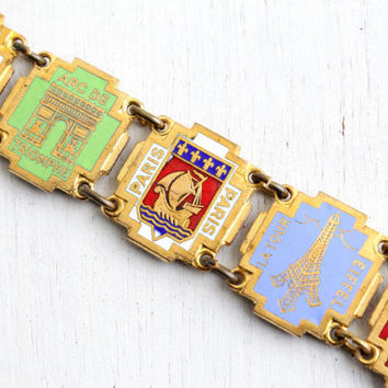 Vintage Enamel Brass French Panel Bracelet - 1940s Historical Attractions Paris France Souvenir Charm Eiffel Tower Colorful Jewelry