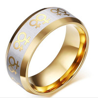 Titanium steel fashion personality Women Lesbian Wedding Ring Stainless Steel Female Gay Pride Jewelry free shipping
