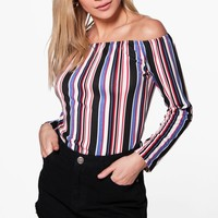 Kara Stripe Off The Shoulder Top
