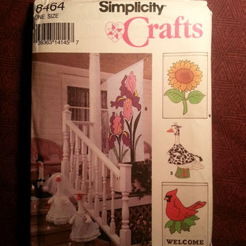 Uncut 1993 Simplicity Sewing Pattern, 8464! Outside Decor/Hanging Flags/Standing Garden Geese/Flower/Cows/Watermelon Flags/Doll Clothes