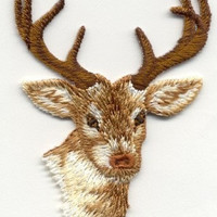 DEER HEAD Wildlife Iron On Patch Looks Real Applique Buck Antlers Hunting Do It Yourself Deer Iron On Patch by Canyon Embroidery