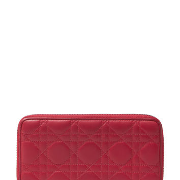 Christian Dior Women's Pink Cannage Quilted Lambskin Zip Around Wallet
