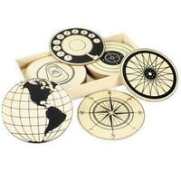 Sign and Symbol Wood Coaster Set
