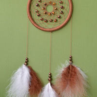 Brown Dreamcatcher with Tigers Eye gemstone beads and marabou feathers, wall hanging