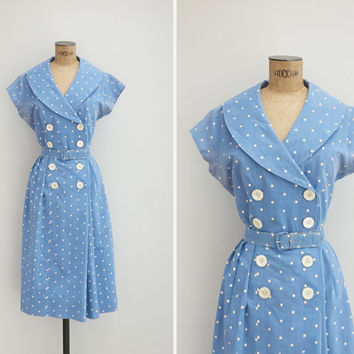 1950s Dress - Vintage 50s Powder Blue Polka Dot Dress - Tammy Dress