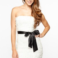 White Ruffled Satin Bow Strapless Dress @ Cicihot sexy dresses,sexy dress,prom dress,summer dress,spring dress,prom gowns,teens dresses,sexy party wear,women's cocktail dresses,ball dresses