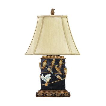 Birds On Branch Table Lamp in Black