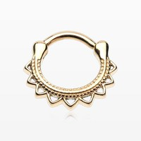 Golden Tribal El Sol Septum Clicker Ring
