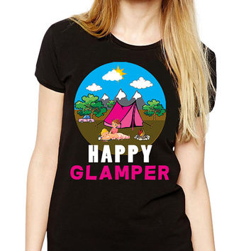 Camping Shirt - Happy Glamper - Glamping T-shirt - Backpacking - Adventure - Hiking Gift - Camp Shirt - Mountain Shirt - Camping Party