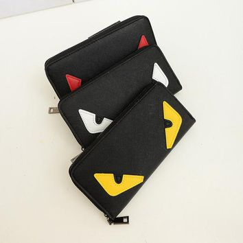 longmiao New Cute Little Monster Women Wallets Long Monster Eyes Purses Female High Quality Daily Clutches PU Wallets Money Clip