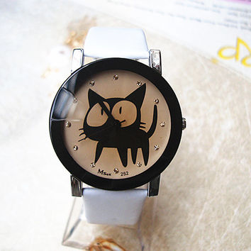 Big Eyed Black Cat Watch - Choose From 6 Different Colors