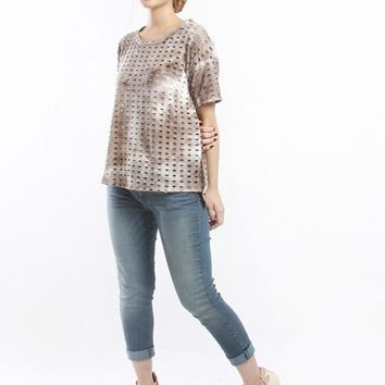 Women's Burnout Tee with Perforated Detailing